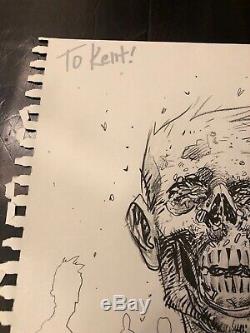 11x14 Tony Moore Sketch Walking Dead TWD Original Art Full Zombie Bust 2006