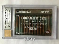 2017 The Walking Dead Evolution Autograph Card Jeffrey Dean Morgan #11/99 Bgs 9