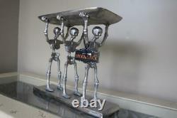 Broomstick Blvd Halloween Metal Skeletons Walking Dead Holding Platter Tray-new