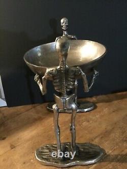 Spooky Night Halloween 2-STANDING METAL Silver SKELETONS WALKING DEAD wi/ bowl