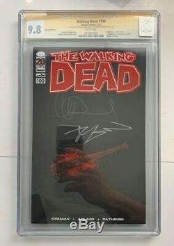 Ss Cgc 9.8 Walking Dead 100 Signed Kirkman Adlard Red Foil Lucille Variant