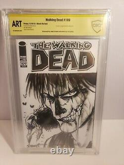 The Walking Dead 109 Blank Cover Sketch Crow And Signed By James O'Barr Art CBCS