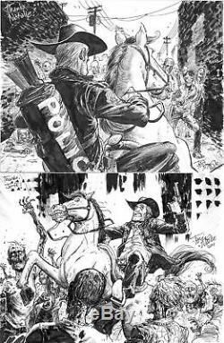 Two 9x12 Tony Moore sketches Walking Dead original art zombies Rick Grimes horse