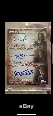 Walking DeadTriple Blood Auto Card 1/1 Norman Reedus Steven Yuen Michael Cudlitz
