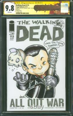 Walking Dead 115 CGC 9.8 SS Original art Negan Lucille Baseball Bat sketch 10/13