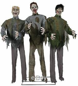 Zombie Attack Trio Halloween Prop Moaning Swaying Animated Sounds Walking Dead