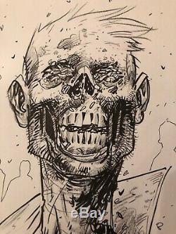 11x14 Tony Moore Sketch Walking Dead Art Original Pleine Twd Zombie Bust 2006