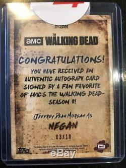2018 Dead Season Topps 8 Walking Partie 1 Auto Sépia Jeffrey Dean Morgan Negan / 10