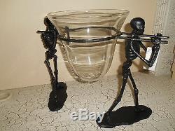 2pc Grange Poterie Dernière Marche Serve Bowl Set Nouveau Halloween Gothique Stand & Bowl