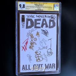 Craignez Les Morts De La Marche # 115 12x Signés Kirkman + Cast + Artist! Cgc 9.8 Ss