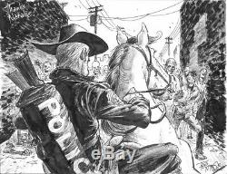 Deux Croquis 9x12 De Tony Moore Walking Dead Zombies D'art Original Rick Grimes Cheval
