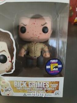 Funko Pop Sdcc 2013 Exclusive Rick Grimes Sanglante The Walking Dead Rare Mint