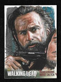La Saison Walking Dead 4 Partie 2 Sketch Carte 1/1 Rick Grimes Artiste Potratz Hai