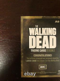 La Walking Dead Season 2 Autographe Card A9 Lauren Cohan Comme Maggie Rare