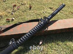 Marcher Mort Katana Black Blade 1095 Acier Samouraï Japonais Épée Combat Réel