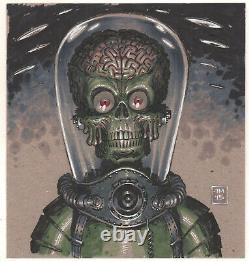Mars Attacks Martian 2015 Signé Color Art Par Walking Dead Artiste Tony Moore