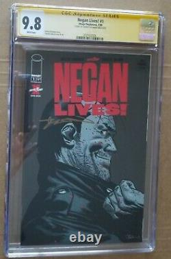 Negan Vit! #1 Walking Dead Cgc 9.8 Signé Par Robert Kirkman 1 Sur 50 Made
