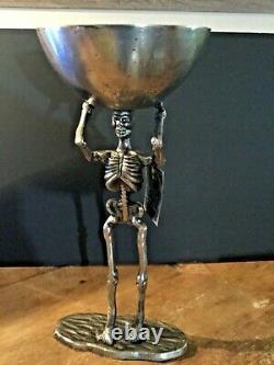 Spooky Nuit Halloween Standing Skeleton Argent Métal Walking Dead Wi/ Bol