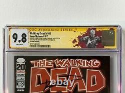 The Walking Dead # 100 2 Imprimer Cgc Ss 9.8 Amc Kirkman Adlard Sketch Negan