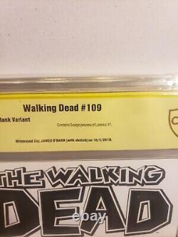 The Walking Dead 109 Blank Cover Sketch Crow Et Signé Par James O'barr Art Cbcs