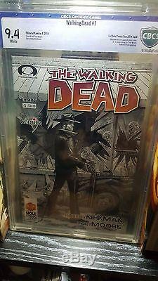 The Walking Dead # 1 Cbcs 9.4 La Mole Espagnol B & W Variante Comic Con Exclusive