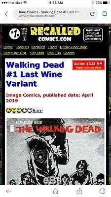 The Walking Dead # 1 Nm + La Réserve Dernière Variant Vin Aucun Super Rare Key