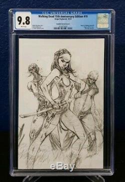 Walking Dead 15e Anniversaire # 19 Cgc 9.8 J Scott Campbell Virgin Sketch