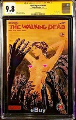 Walking Dead # 163 Cgc Ss 9.8 Croquis De L'art Original Negan Zombies Rick Image Comics