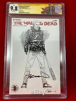 Walking Dead 163 Sketch Variante Cgc 9.8 Signé Par Kirkman 1500 Ratio Rick Étiquette