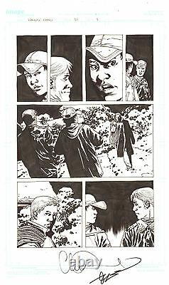 Walking Dead #81 P. 9 Rick And Carl 2010 Signé Art Par Charlie Adlard